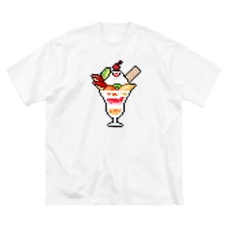 ドット絵パフェ文鳥 Big silhouette T-shirts
