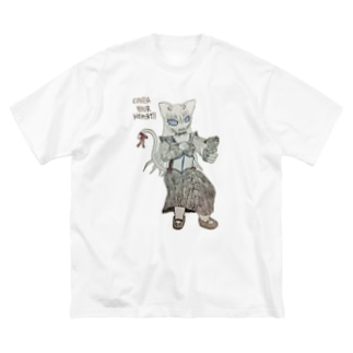 心臓を守るるにゃん Big silhouette T-shirts