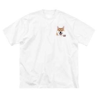 赤柴ちゃん Big silhouette T-shirts