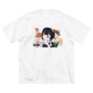 喫茶モルヒネ Big silhouette T-shirts