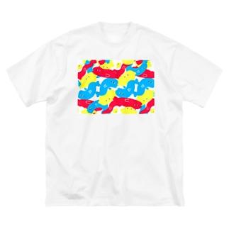 えびおさかなれもんの柄 Big silhouette T-shirts