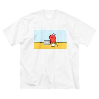 伊豆見のおしごとえび起 Big silhouette T-shirts