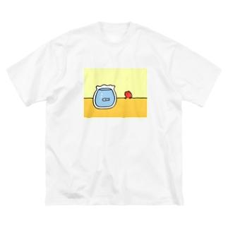 おさかなをみるこえび Big silhouette T-shirts