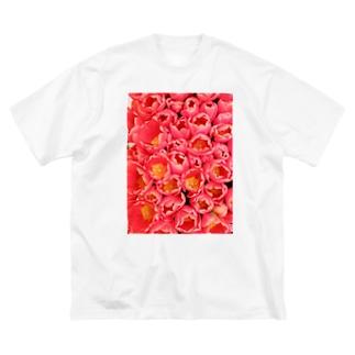 ピンクの花束 Big silhouette T-shirts