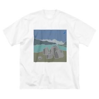 P&B=ストーン6-1 Big silhouette T-shirts
