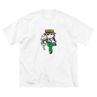 ねこ大事大事ガール Big silhouette T-shirts