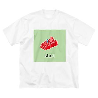 人生のSTARTライン Big silhouette T-shirts