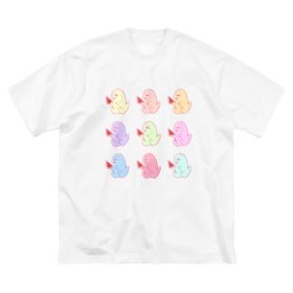 夏のカラフル♡スイカも〜さん Big silhouette T-shirts
