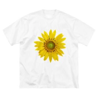 Flower ヒマワリB Big silhouette T-shirts