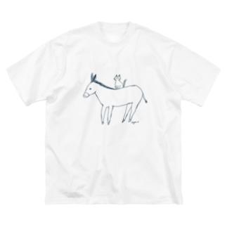 ロバと猫 Big silhouette T-shirts