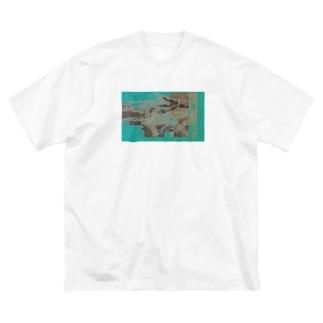 デジタルアブストラクト Big silhouette T-shirts