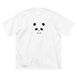 カラフル蝶ネクタイ パンダ Big silhouette T-shirts