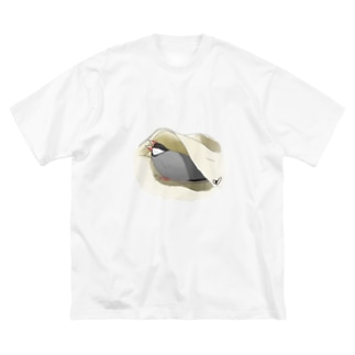 威嚇桜文鳥 Big silhouette T-shirts