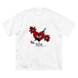 トラッド ハート&ナイフ Big silhouette T-shirts