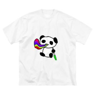 カラフルシーシャぱんだ Big silhouette T-shirts