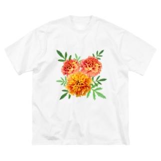 Flower マリーゴールドと葉っぱ Big silhouette T-shirts