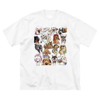 犬に夢中(クリア) Big silhouette T-shirts