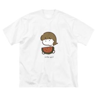 🍉: スイカガール Big silhouette T-shirts