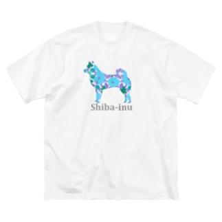 花 柴犬 Big silhouette T-shirts