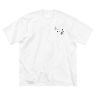 ラベンダーと白猫さん Big silhouette T-shirts