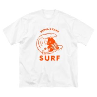 波に乗るクマとカニ(赤) Big silhouette T-shirts