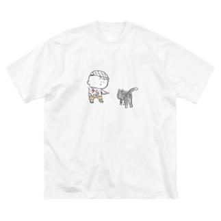 猫にちょっかいだす夫・サミ太郎 Big silhouette T-shirts