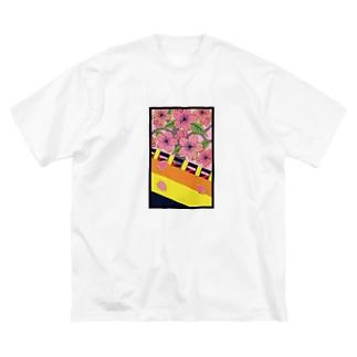 花札 桜に幕 Big silhouette T-shirts