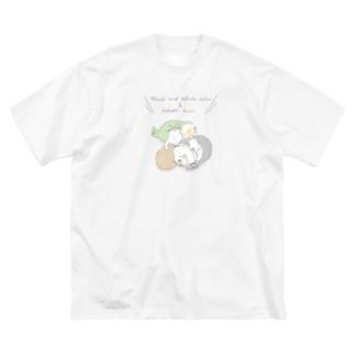ハチワレ姉妹とカカポとキーウィ Big silhouette T-shirts