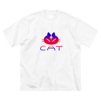 red blue cat Big silhouette T-shirts