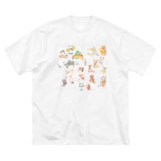 水彩アニマルオーケストラ Big silhouette T-shirts