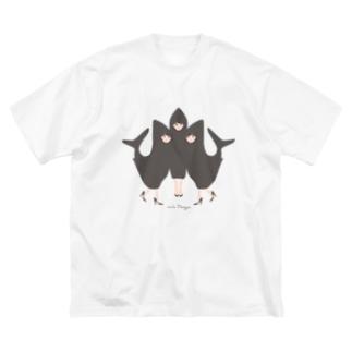 わたしたち!アイドルサメさん/背景なし Big silhouette T-shirts