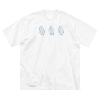 可愛いアメリカンホワイト マメルリハちゃん【まめるりはことり】 Big silhouette T-shirts