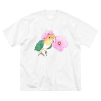 まめるりはことりのお花とシロハラインコちゃん【まめるりはことり】 Big silhouette T-shirts