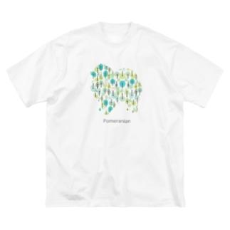 森 ポメラニアン Big silhouette T-shirts