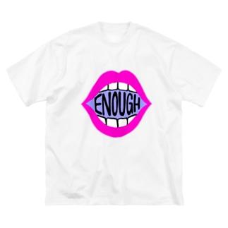 ENOUGH IS ENOUGH! MOUTH PINK Big T-shirts