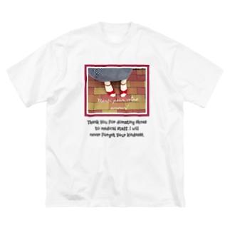 赤いサンダル Big silhouette T-shirts