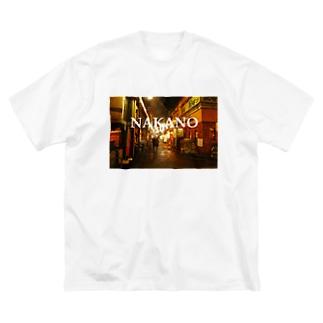 中野 中野区 NAKANO 中野駅北口 Big silhouette T-shirts