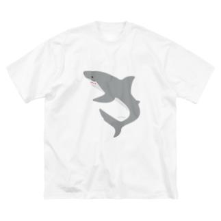 シンプルにサメさん Big silhouette T-shirts