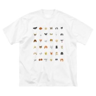 犬たち 36匹 黒文字バージョン Big silhouette T-shirts