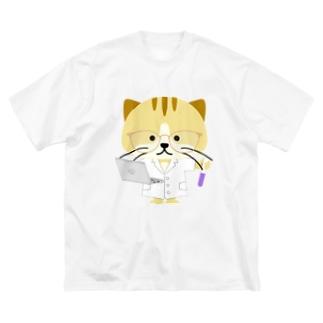 Tarockの理系の猫(リケニャ) Big silhouette T-shirts