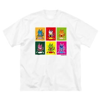 レオ6カラープリント-ビッグTシャツ Big silhouette T-shirts