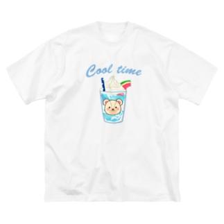 白くまさんの青空ゼリーのクリームソーダ Big silhouette T-shirts