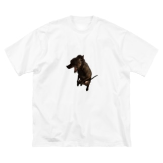 実家の犬 Big silhouette T-shirts