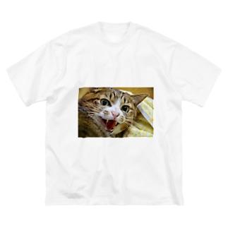 威嚇ネコ Big silhouette T-shirts