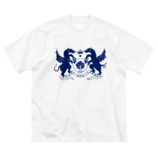 dragon emblem navy Big silhouette T-shirts