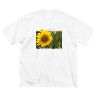 八月のひまわり Big silhouette T-shirts