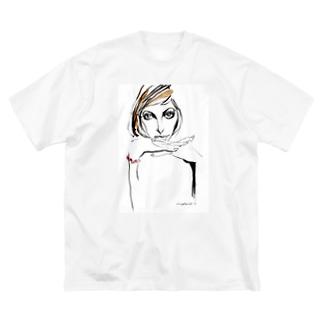 無表情な女の人 Big silhouette T-shirts