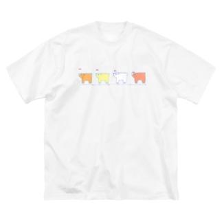 クマ、クマ、クマ、クマ。 Big silhouette T-shirts