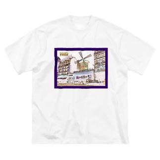 CG絵画:モンマルトルのキャバレー CG art: Cabaret à Montmartre Big silhouette T-shirts