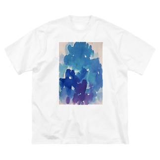 青い絵の具 Big silhouette T-shirts